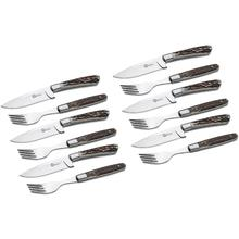 Boker Arbolito Exclusive 12 Piece Steak Knife and Fork Dining Set, Stag Handles, Gift Box
