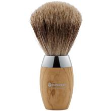 Boker Pure Badger Hair Shaving Brush, Olive Wood Handle