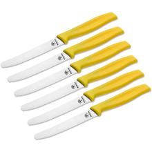 Boker 6 Piece Serrated Sandwich/Bread Knife Set, Yellow Synthetic Handles, Gift Box