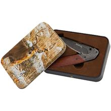 Browning 2017 Whitetail Folding Knife 3.375 inch Drop Point Blade, Cocobolo Wood Handles, Gift Tin