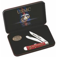 Case USMC Smooth Red Bone Trapper Gift Set (6254 SS)
