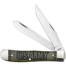 Case US Army Embellished Smooth Olive Green Bone Trapper 4-1/8 inch Closed (6254 SS)