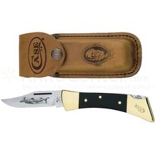 Case Black Synthetic Hammerhead Lockback 5 inch Closed (2159L SS), Leather Sheath