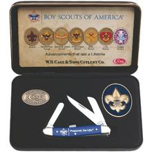 Case Boy Scouts of America Smooth Blue Synthetic Medium Stockman 3-5/8 inch Closed (4318 SS), Jewel Box