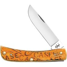 Case Carved Persimmon Orange Bone Sod Buster Jr 3-5/8 inch Closed (6137 SS)
