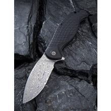 CIVIVI Knives C802DS Naja Flipper Knife 3.75 inch Damascus Drop Point Blade, Black G10 Handles