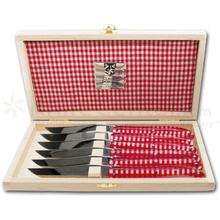 Claude Dozorme 4 inch Laguiole Steak Knives, Set of 6, Red and White Vichy Handles, Wooden Gift Box