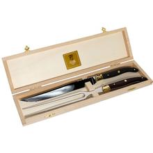 Claude Dozorme Set of Laguiole 2 Piece Carving Set with Bee Vallernia Wood Handles, Wood Gift Box