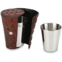 Concord Set of Four 3.5 oz Stainless Steel Cups with Brown Crocodile Skin Case