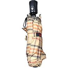 Concord Mini Folding Tan Tartan Plaid Umbrella with Matching Nylon Case, 12 inch Overall