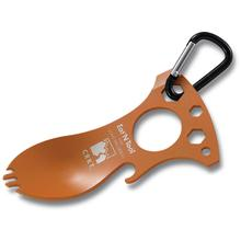 Columbia River 9100TC Eat'N Tool (Tangerine), Spoon, Fork, Bottle Opener, Screwdriver/Pry Tip, Wrenches, Carabiner