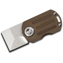 Curtiss Knives ODT Original Dog Tag Flipper 1 inch Stonewashed CTS-XHP Square Tanto Blade, Bronze Stonewashed Titanium Handles