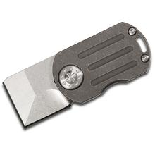 Curtiss Knives ODT Original Dog Tag Flipper 1 inch Stonewashed CTS-XHP Square Tanto Blade, Dark Stonewashed Titanium Handles
