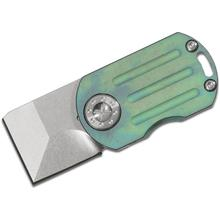 Curtiss Knives ODT Original Dog Tag Flipper 1 inch Stonewashed CTS-XHP Square Tanto Blade, Green Stonewashed Titanium Handles