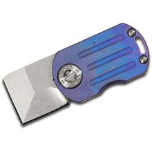 Curtiss Knives ODT Original Dog Tag Flipper 1 inch Stonewashed CTS-XHP Square Tanto Blade, Purple Stonewashed Titanium Handles