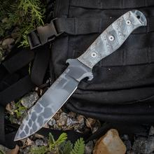 Dawson Knives Custom Raider 5 Fixed 5 inch 80CrV2 Obsidian Blade, Black Micarta Handles, Typhon Kryptek Kydex Sheath