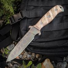 Dawson Knives Custom Raider 5 Fixed 5 inch 80CrV2 Sandstone Blade, Tan Micarta Handles, Highlander Kryptek Kydex Sheath