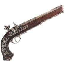 Denix Replica 1810 Gentleman's Flintlock Dueling Pistol, Nickel