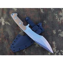 Dervish Knives Mid-Tech Ursa Minor Fixed Blade Knife 7.375 inch CPM-3V Stonewashed Blade, Tan G10 Handles, Kydex Sheath