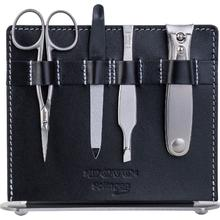 DOVO 4-Piece Manicure Set, Black Leather Stand