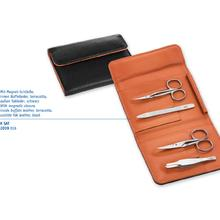DOVO 2039 016 4-Piece Manicure Set, Cuticle Scissors, Nail Scissors, File, Tweezers, Black Leather Pouch