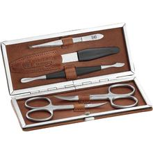 DOVO 5-Piece Manicure Set, Brown Leather Case