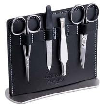 DOVO 4 Piece Manicure Set, Black Leather Stand