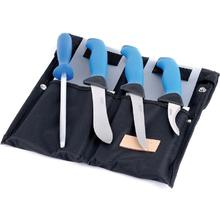 EKA Butcher Set - Skinning, Boning, Gut Hook & Sharpening Steel, Blue Santoprene Handles
