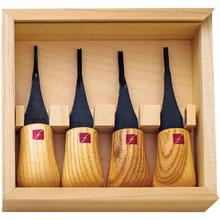 Flexcut 4-Piece Mini-Palm Set, 4 Different Style Blades, Ash Wood Handles, Storage Box