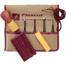 Flexcut 5-Piece Printmaking Set, 4 Different Style Blades w/ Interchangeable Wood Handle