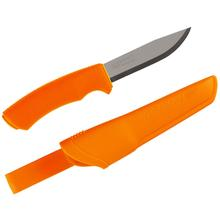 Morakniv Mora of Sweden Orange Bushcraft Fixed 4-1/4 inch Stainless Steel Blade, Orange Rubberized Handle, Plastic Sheath