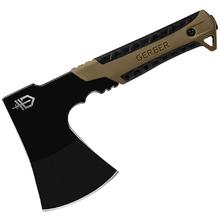 Gerber Pack Hatchet, Black Blade, Coyote Brown Rubberized Overmold Handle, 9.46 inch Overall