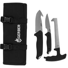 Gerber Moment Hunting Kit 3 Fixed Saw, Caping and Guthook Knives, Nylon Sheath