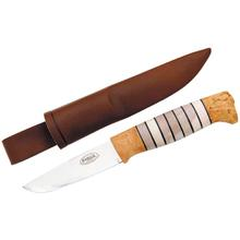 Helle Odel Birch Hunting Knife 3-1/2 inch Blade, Stag Horn and Leather Handles, Leather Sheath