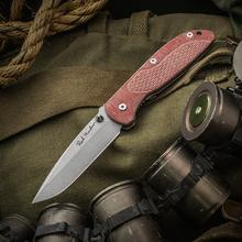 Rick Hinderer Custom Firetac Folding Knife 3.625 inch Hand Ground Drop Point Blade, Red Micarta and Working Finish Titanium Handles
