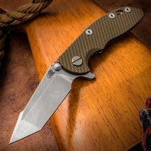 Rick Hinderer Knives XM-18 3 inch Flipper, S35VN Stonewashed Harpoon Tanto Blade, OD Green G10 Handle