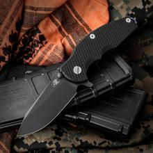 Rick Hinderer Knives Jurassic Flipper 3.25 inch S35VN Black DLC Spear Point Blade, Black G10 Handle