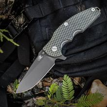 Rick Hinderer Knives Jurassic Flipper 3.25 inch S35VN Battle Black Spear Point Blade, OD Green/Black G10 Handle