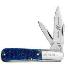 John Primble Blue Grass Barlow w/2 Carbon Steel Blades, Blue Jigged Bone Handle