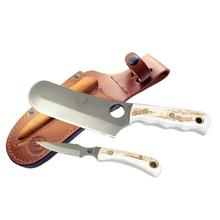 Knives of Alaska Brown Bear/Cub Bear Combo Set, Stag Handles, Brown Leather Sheath