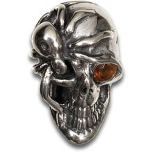 Kirby Lambert/Bill Wall Leather Custom Silver Skull Bead with Golden Topaz Eye