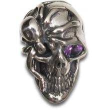 Kirby Lambert/Bill Wall Leather Custom Silver Skull Bead with Purple Amethyst Eye
