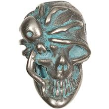 Kirby Lambert/Bill Wall Leather Custom White Bronze Skull Bead