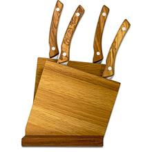 Maserin 2063/OL 5 Piece Steak Knife Block Set, Olive Wood Handles