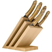 Maserin 2083/MON Olive Wood 7 Piece Kitchen Knife Magnetic Stand Set