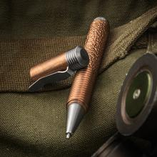 Matthew Martin Custom 500CuTiT Textured Copper and Titanium Screw Cap Tactical Pen, 5 inch Overall