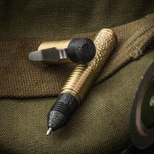 Matthew Martin Custom M500BZrT Textured Brass and Zirconium Mini Screw Cap Tactical Pen, 3.625 inch Overall, KnifeCenter Exclusive