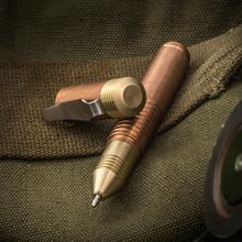 Matthew Martin Custom M500TiZr Copper and Brass Mini Screw Cap Tactical Pen, 3.625 inch Overall