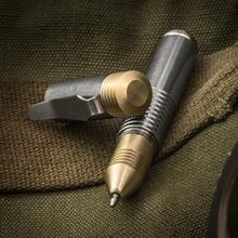 Matthew Martin Custom M500TiB Titanium and Brass Mini Screw Cap Tactical Pen, 3.625 inch Overall, KnifeCenter Exclusive