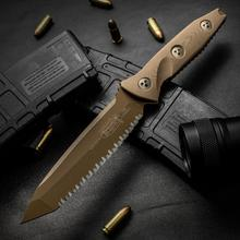 Microtech 114-3PVDTN Socom Alpha Fixed 5.45 inch Tan PVD Tanto Fully Serrated Blade, G10 Handles, Kydex Sheath